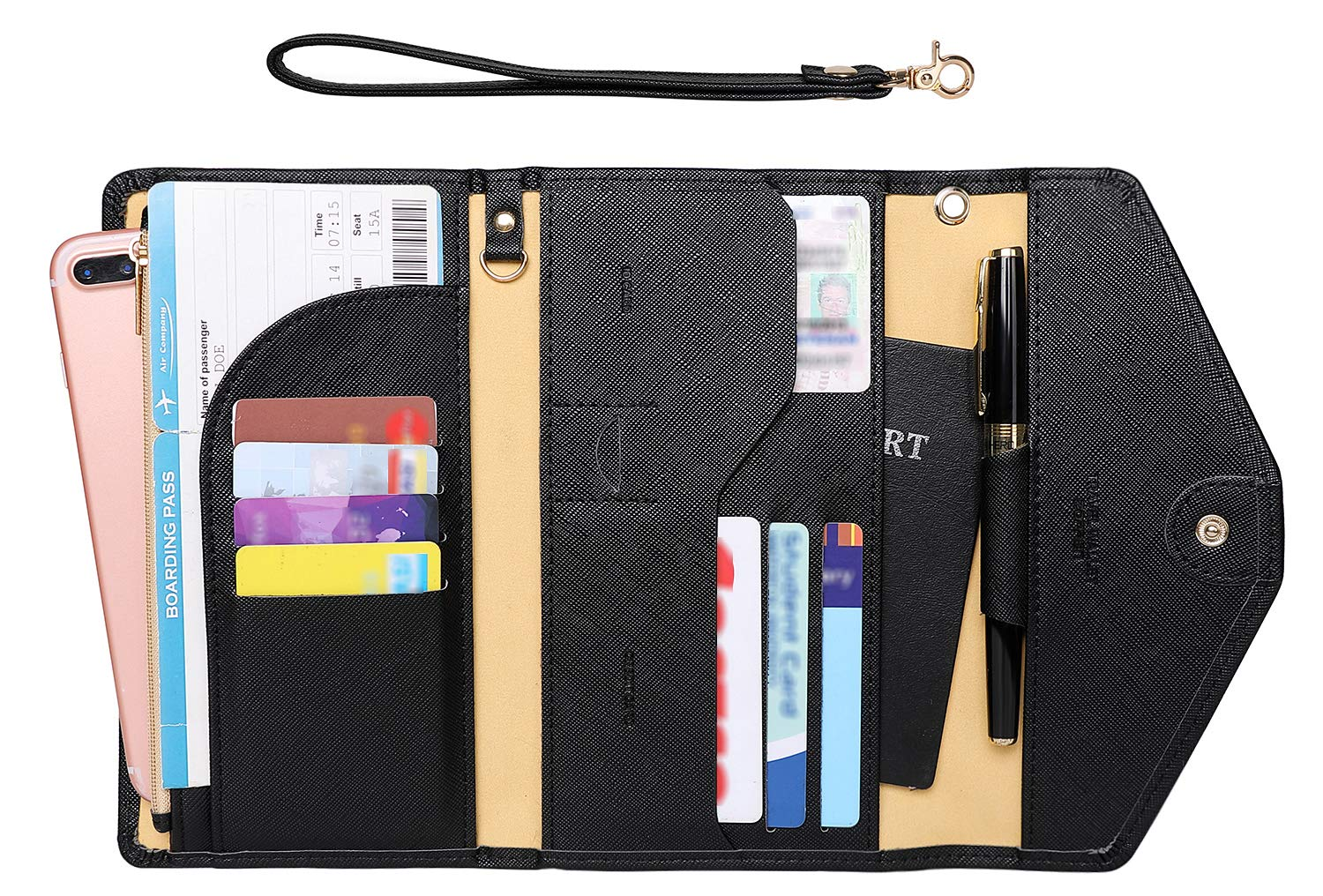 Zoppen Passport Holder Travel Wallet (Ver.5) for Women Rfid Blocking Multi-purpose Passport Cover Document Organizer Strap, Black by Zoppen