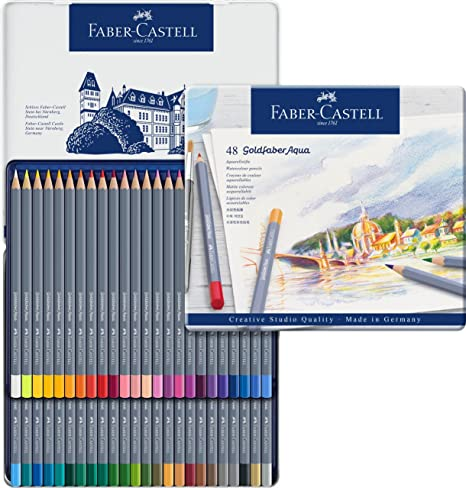 fd51667fc8c164 Goldfaber Aqua Crayons d'aquarelle Boîte métal de (lot de 12) Set de 48  pièces dans une boîte métallique