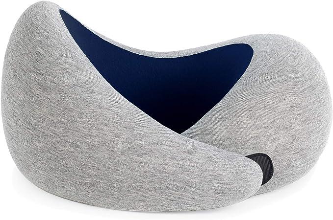 OSTRICHPILLOW GO Almohada de Viaje viscoelástica con Memory Foam para el Dolor de Cuello a Dormir en Aviones, Tren, Coche – Color Azul Oscuro – Blue