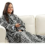 Snuggie Fleece Blanket with Sleeves - Gray Leopard