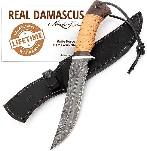 Hunting Knife – Damascus Steel Knife – Stone Pattern w Fullers – Birchbark Handle – Force – Leather Sheath