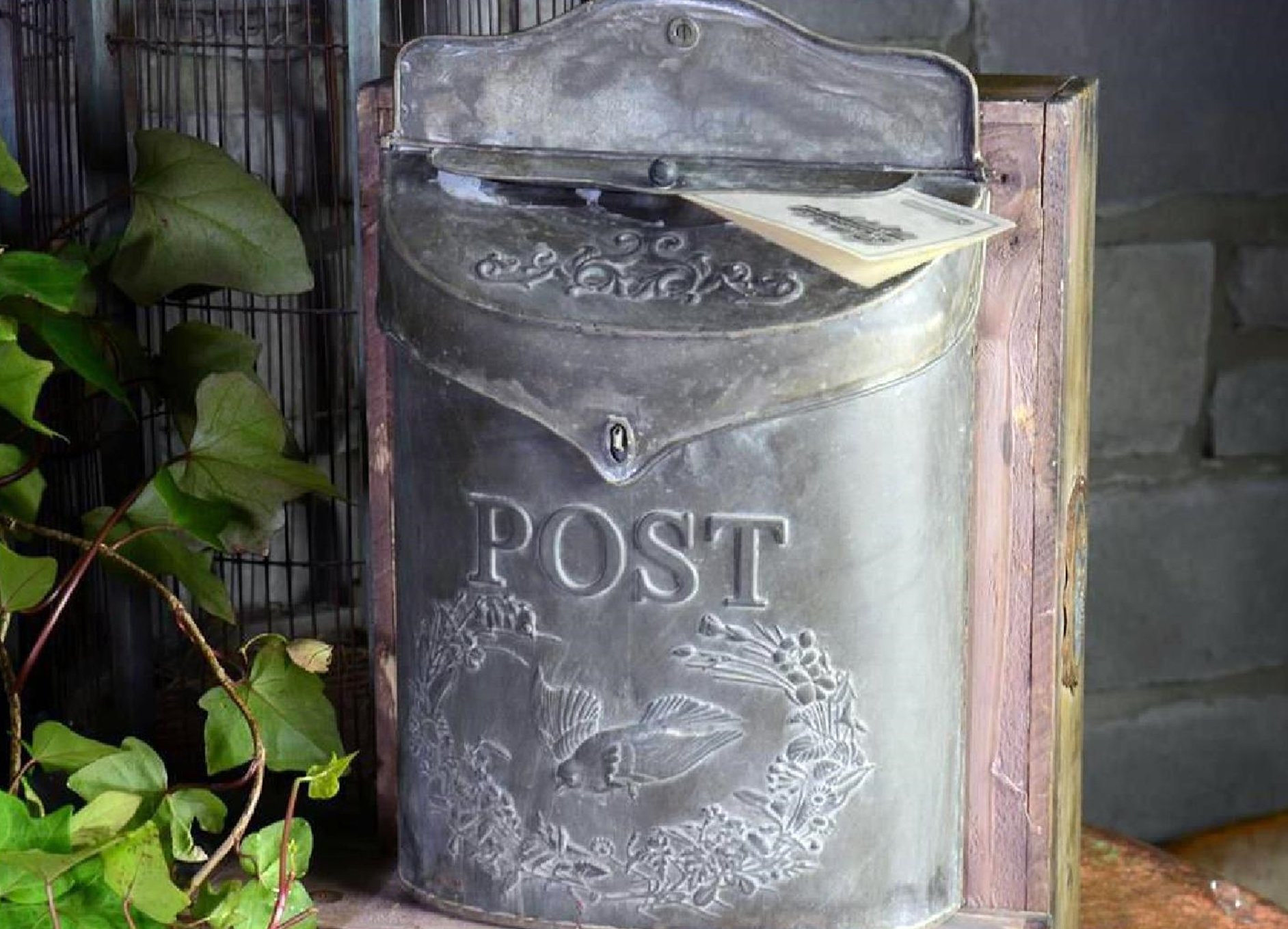 Vintage Metal Post Letter Mail Box with Carrier Pigeon and Letter Slot