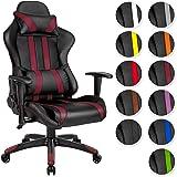 TecTake Poltrona sedia direzionale da ufficio racer racing classe di lusso con supporto lombare - disponibile in diversi colori - (nero bordò | no. 402232)