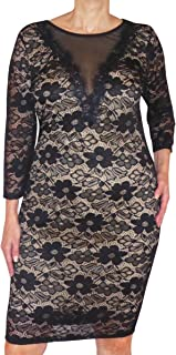 product image for Funfash Plus Size Women Black Lace Slimming Cocktail Cruise Dress Made in USA