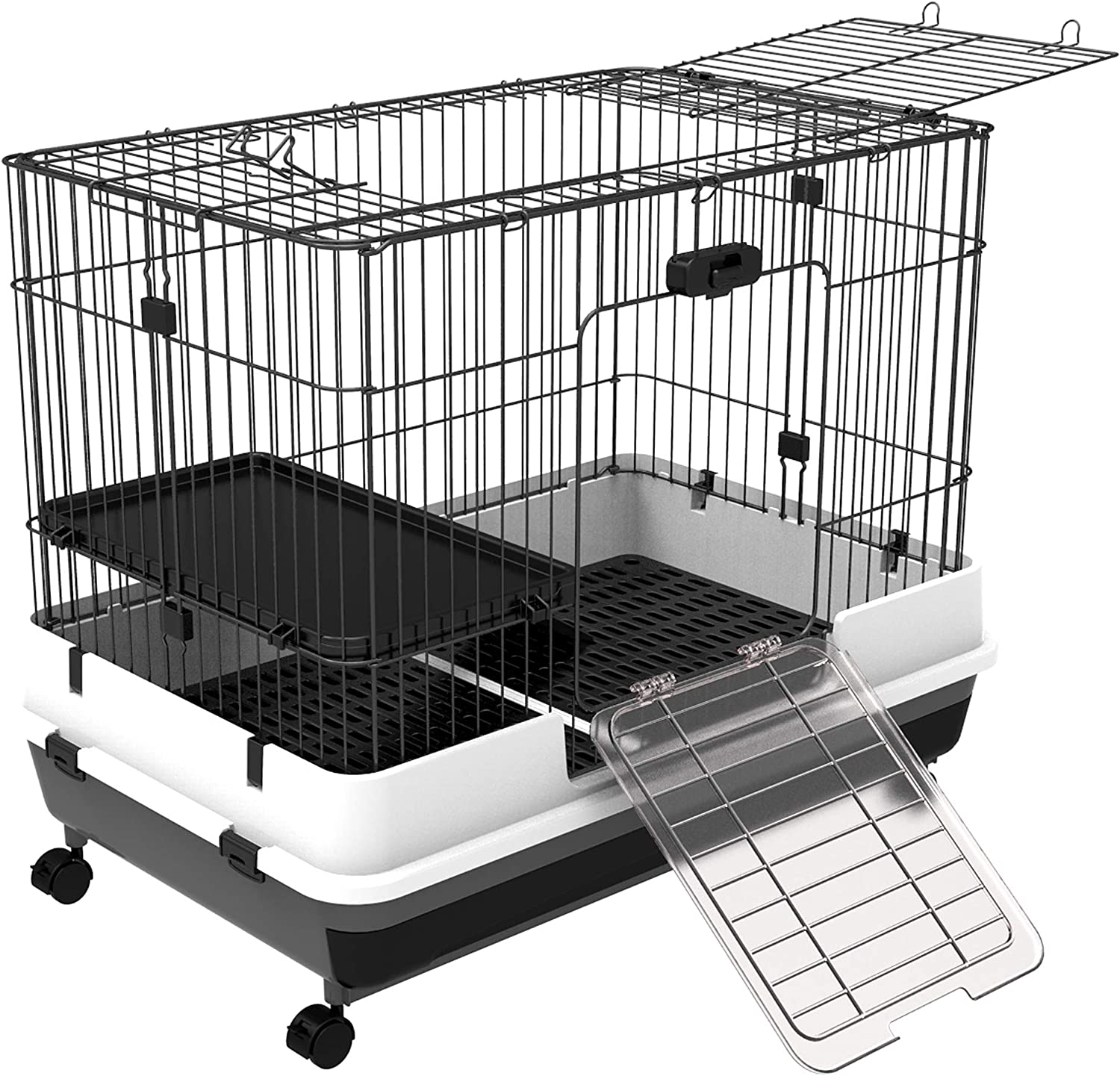 "PawHut 32""L 2-Level Indoor Small Animal Rabbit Cage with Wheels - Black"