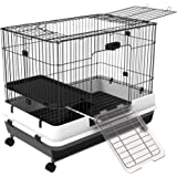"PawHut 32""L 2-Level Indoor Small Animal Cage Rabbit Hutch with Wheels"