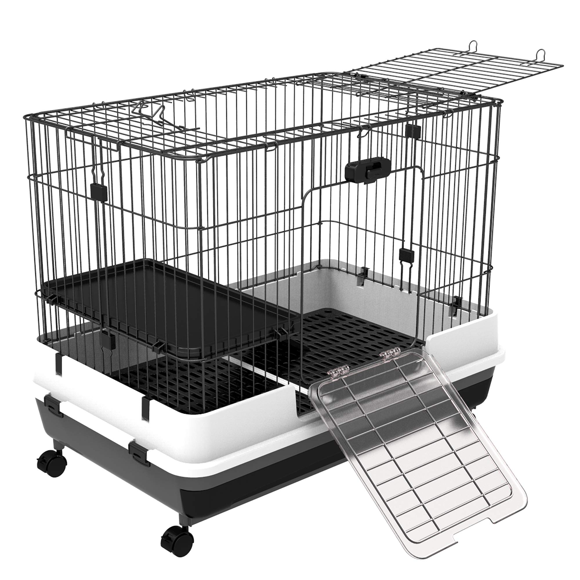 PawHut 32''L 2-Level Indoor Small Animal Rabbit Cage with Wheels - Black by PawHut