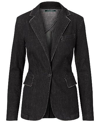 Lauren Ralph Lauren Women\u0027s Stretch Denim Jean Blazer Jacket, Asphalt Black  ...