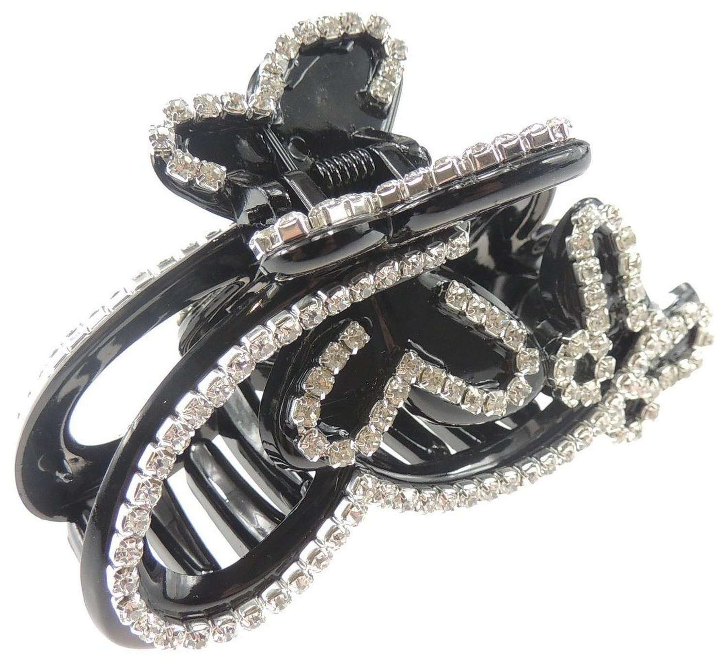 Extra Sparkly Crystal Diamante Hair Claw Clamp Clip Black Stencil Butterfly Glamour Girlz