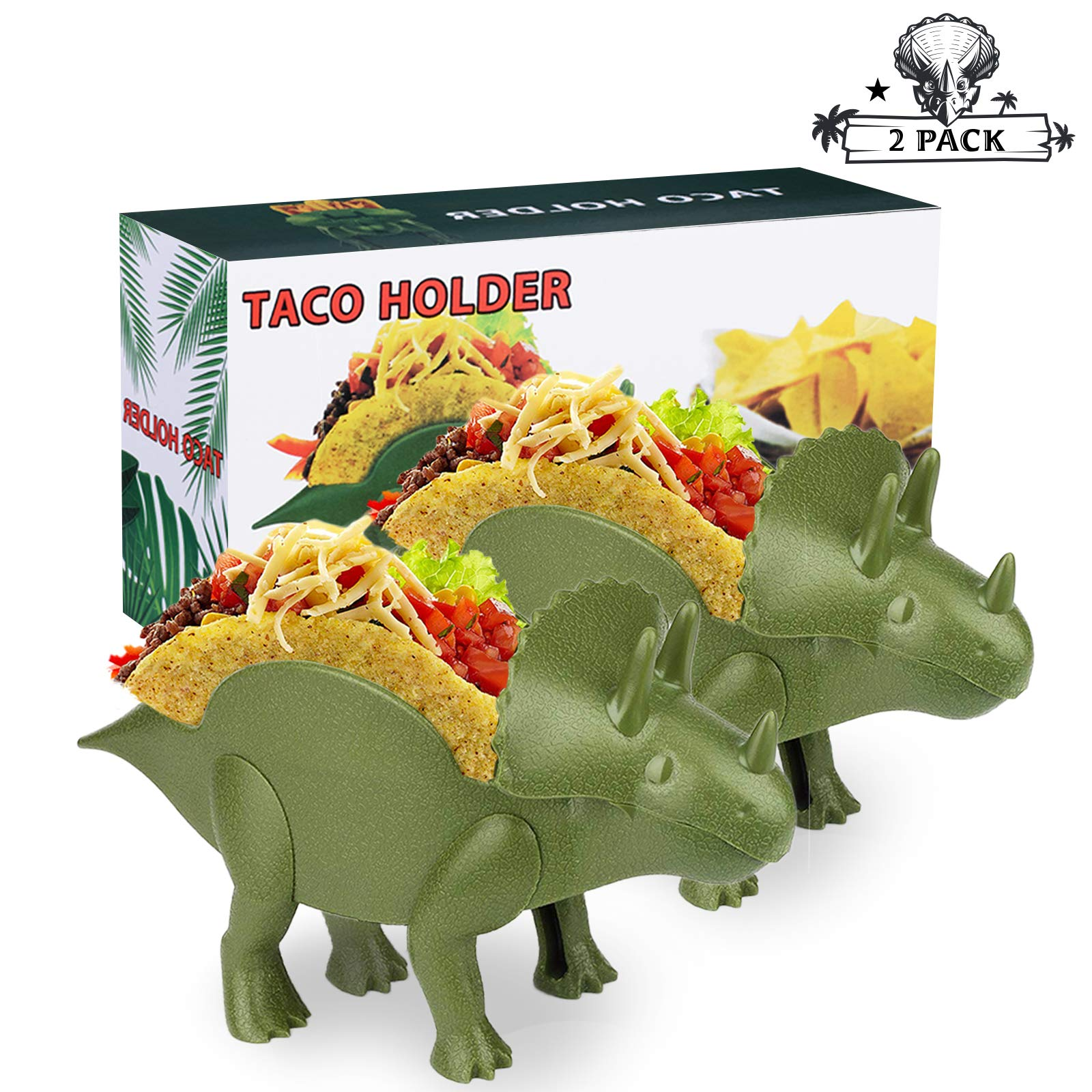 2 Triceratops Taco Holders, Pair Dinosaur Taco Holder Set Perfect Gift, Double-Slotted Dino Taco Holders for Kids 10 x 5.5'' Food Safe Quality Taco Plates with Fun Meal-Time by Bonviee