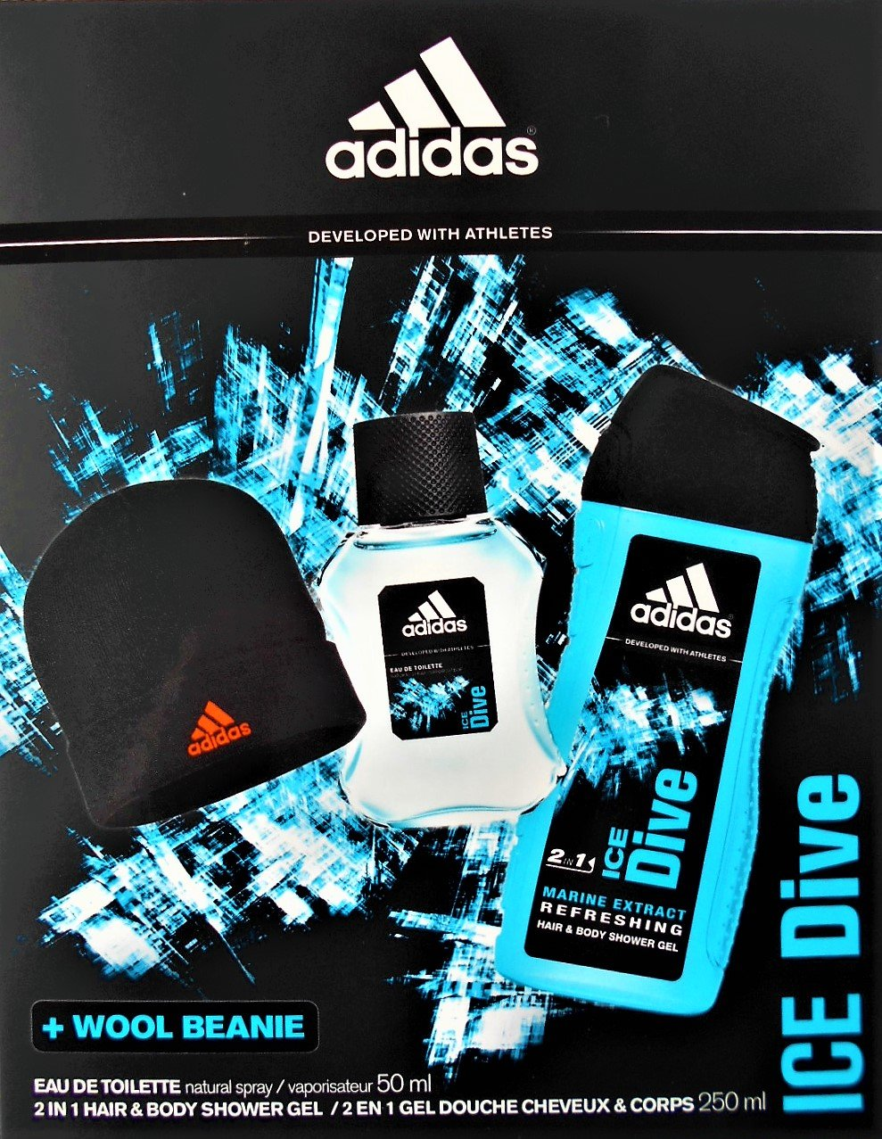 ADIDAS ICE DIVE Eau de Toilette 50ml + 2in1 Hair & Body Shower Gel + Wool Beanie Coty