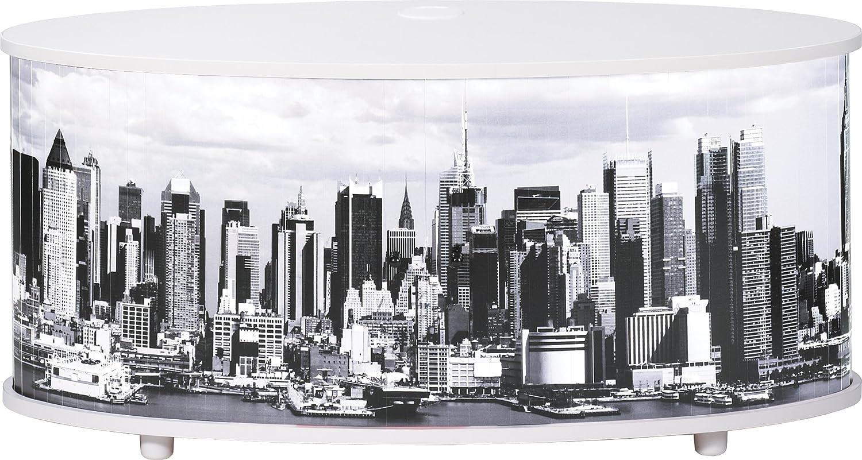 Simmob Print110bl508 New York Meuble Tv Panneau Bois M Lamin  # Panneau Melamine Derriere La Tele