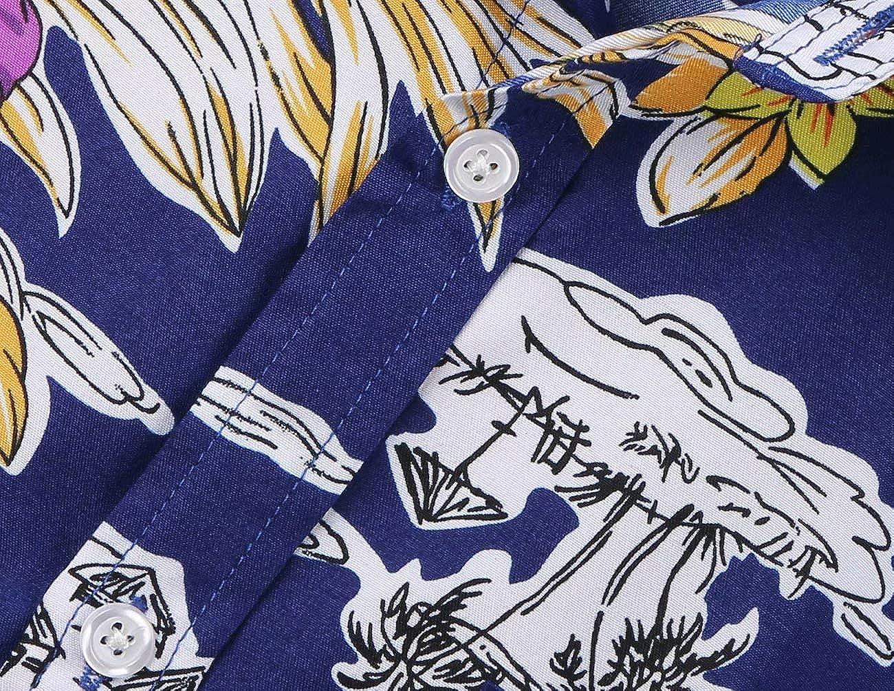 NUTEXROL Camisa Superior de Manga Corta con Estampado de Lunares para Hombre Camisa Casual de Algod/ón