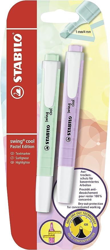 Marcador pastel STABILO swing cool - Pack con 2 colores: Amazon.es ...