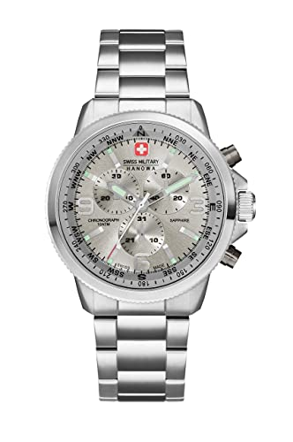 4dd60f482f Swiss Military Men s SM34208AEU H05MS Quartz Watch with Grey Dial Analogue  Display and Stainless Steel