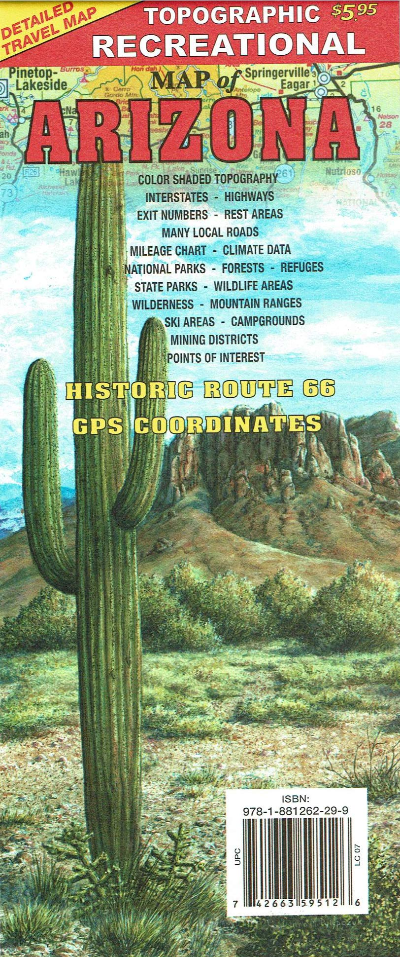 Topographic Recreational map of Arizona: GTR Mapping, Donna ...