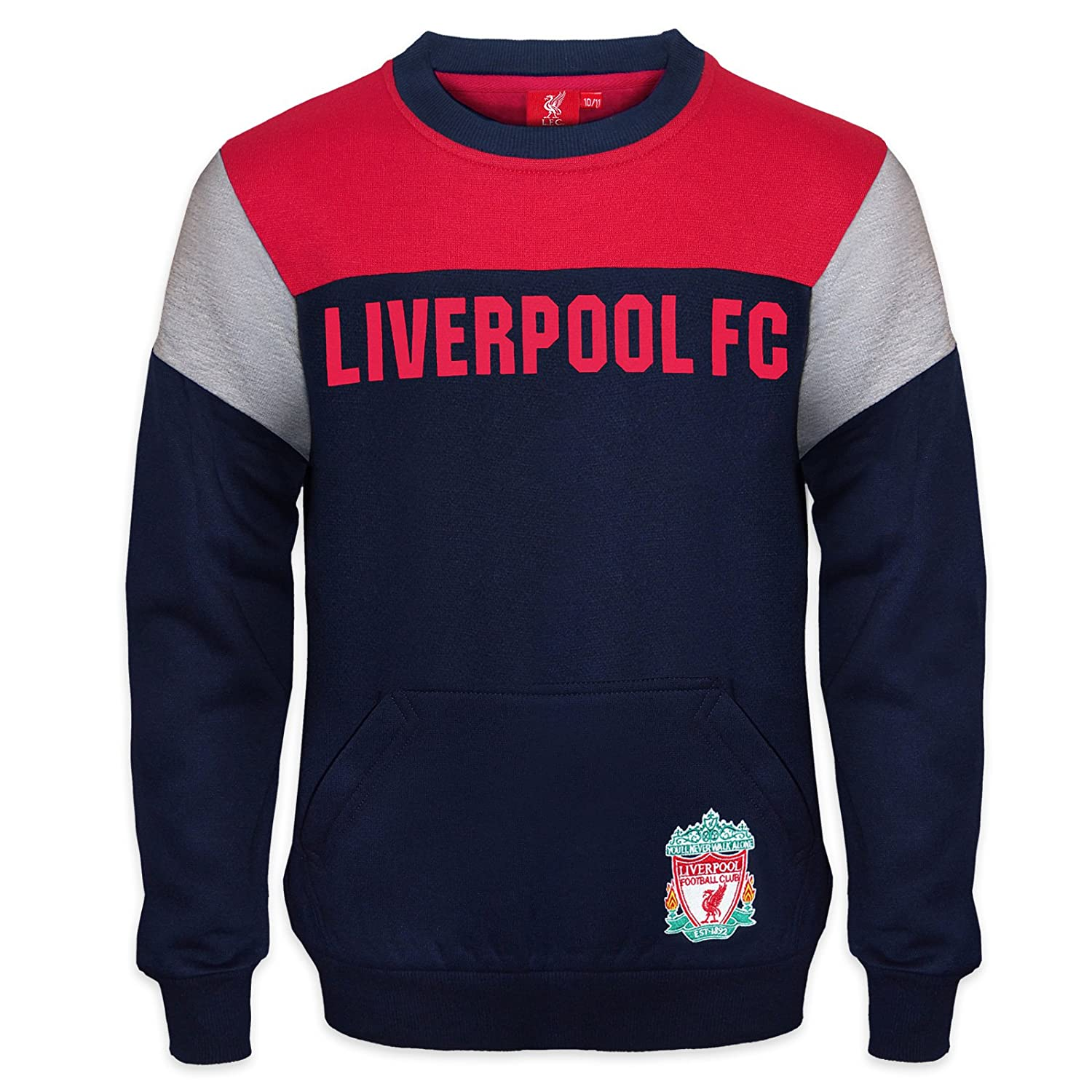 825506c889a Amazon.com: Liverpool FC Official Soccer Gift Boys Crest Sweatshirt Top  Navy Blue: Clothing