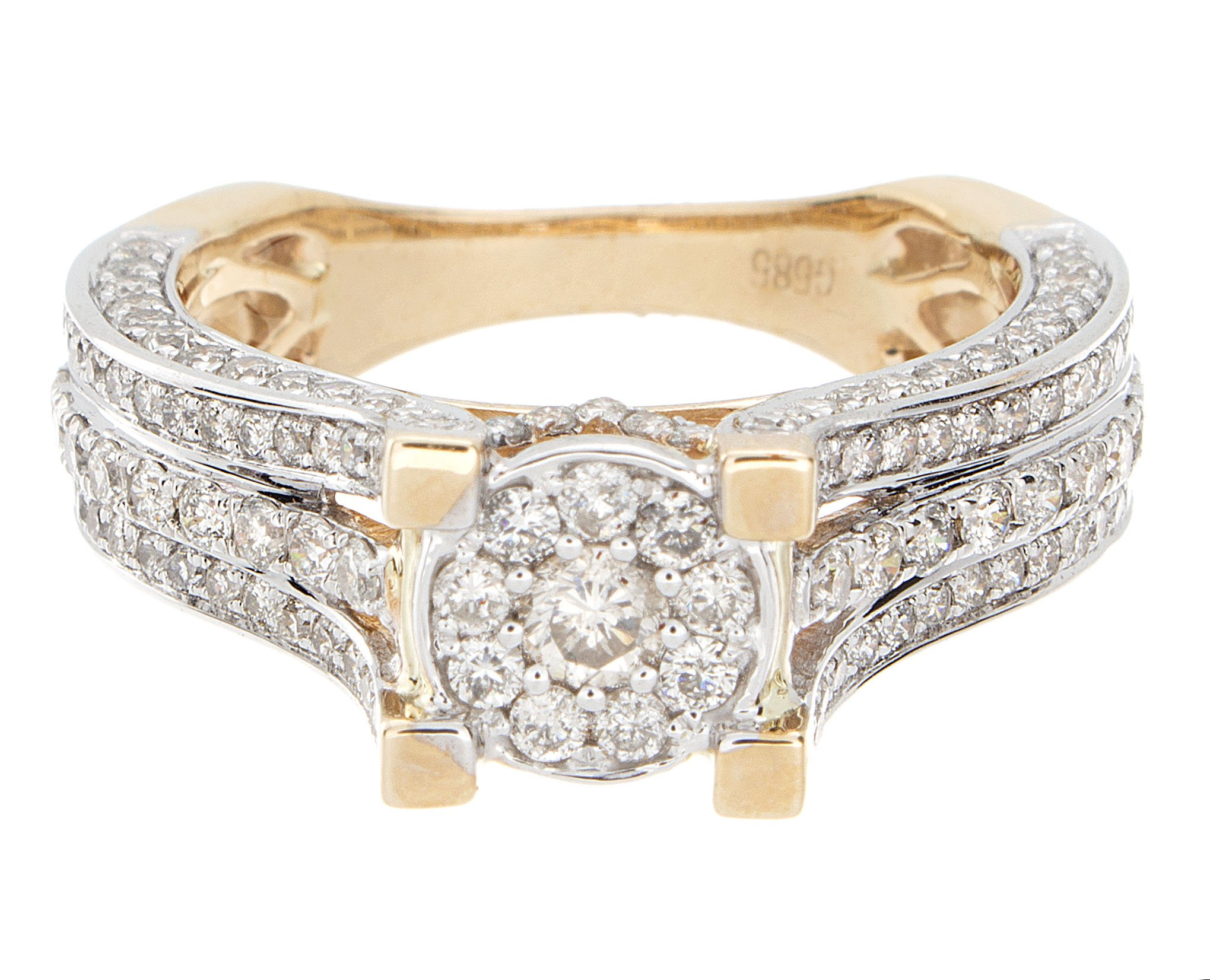 1.56ctw Excellent Cut Round Diamond (H-1 color, i1 - i2 clarity) in 14k Gold Fashion Ring