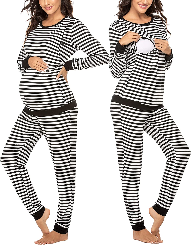 Ekouaer Women's Maternity Nursing Pajamas Sets Breastfeeding Printed Sleepwear Short Sleeve 2...