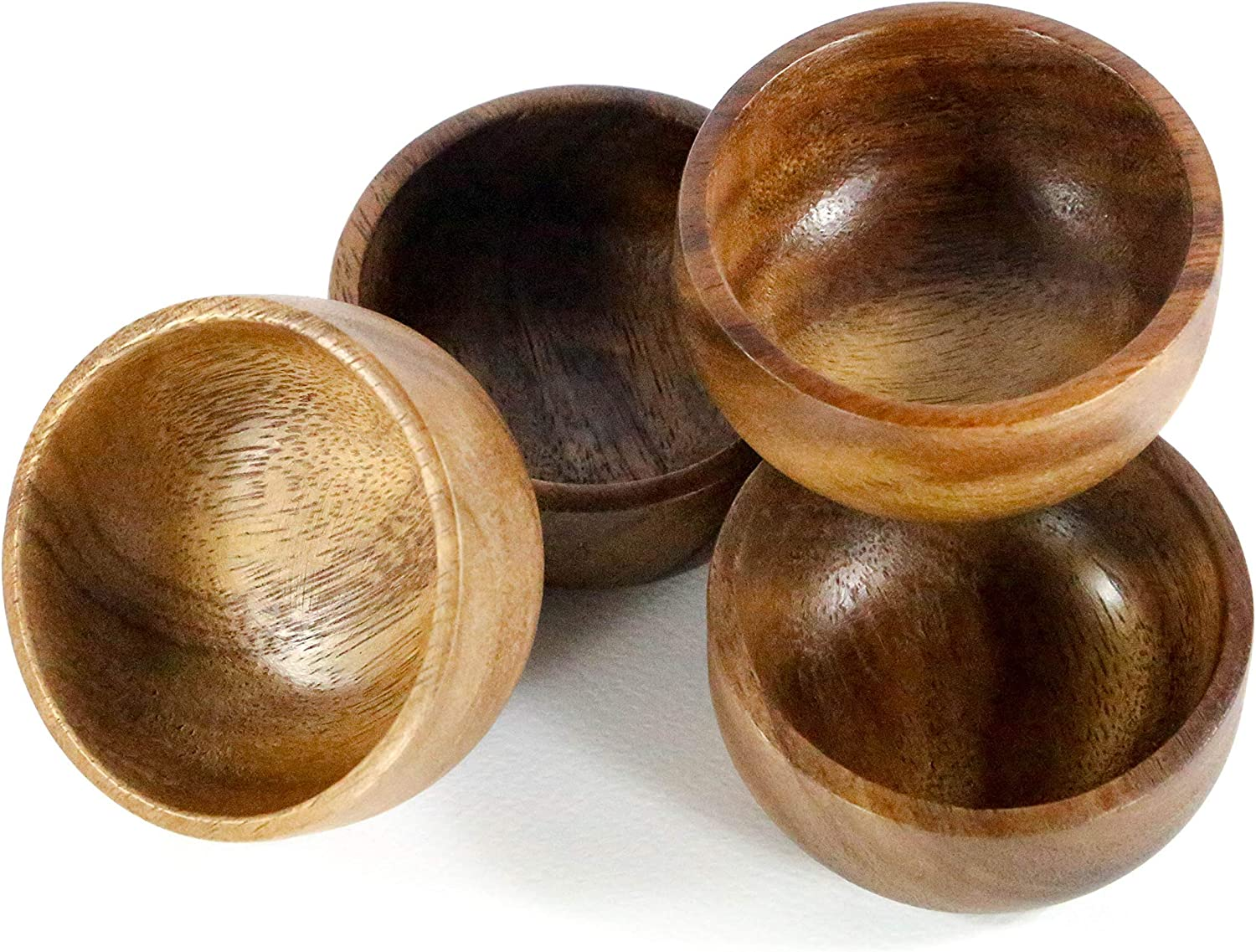 """Kevin Home Small Wooden Serving Bowl, fruits, candy, nuts, Dip Sauce, Appetizer, 4 Pieces Acacia Small bowl 3"""" Diameter x 1.4"""" Height"""