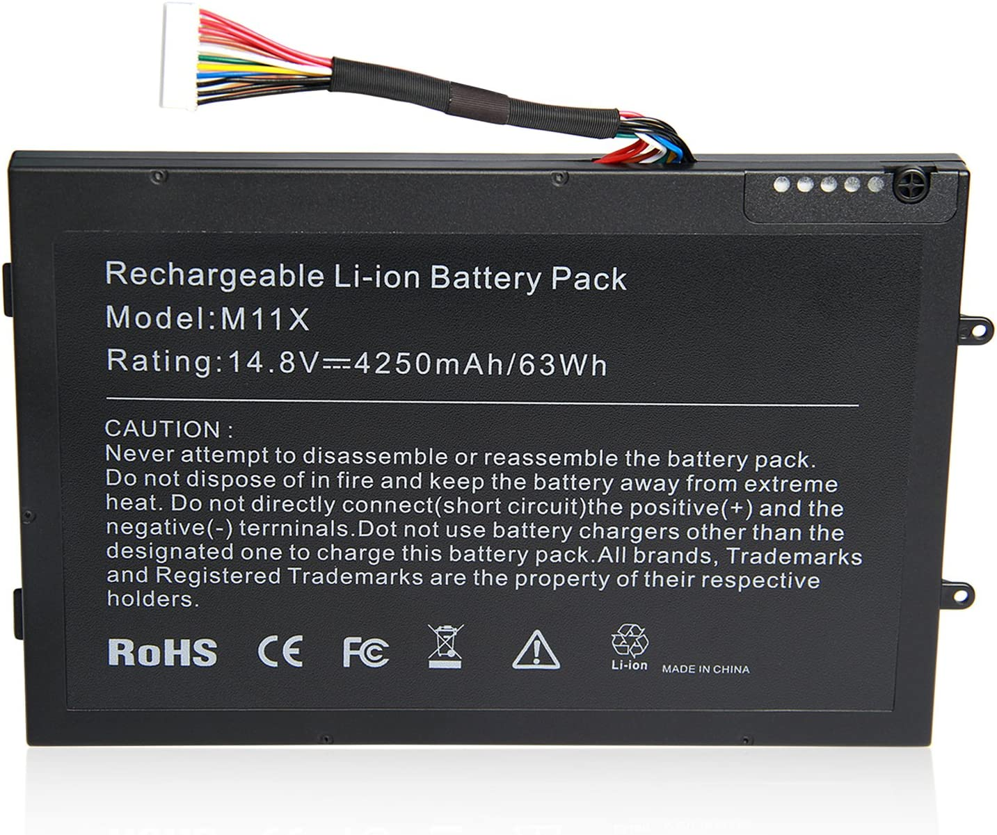 ARyee M11X R3 M14X R2 Battery for Dell Alienware New Laptop Replacement Fit Alienware M11x R2 R3 M14X R2 P18G P06T 312-0984 8P6X6 999T2086F DKK25 KR08P6X6[14.8 63Wh]
