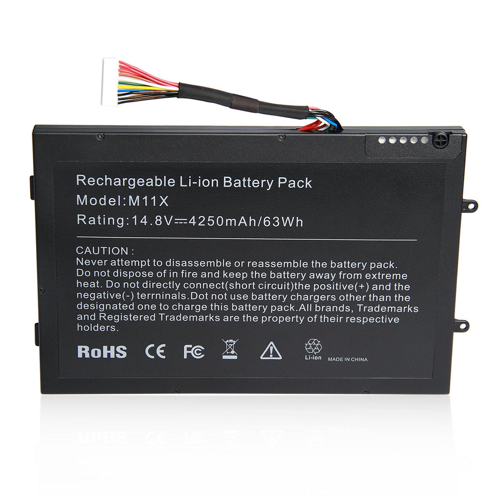 ARyee M11X R3 M14X R2 Battery for Dell Alienware New Laptop Replacement Fit Alienware M11x R2 R3 M14X R2 P18G P06T 312-0984 8P6X6 999T2086F DKK25 KR08P6X6[14.8 63Wh]