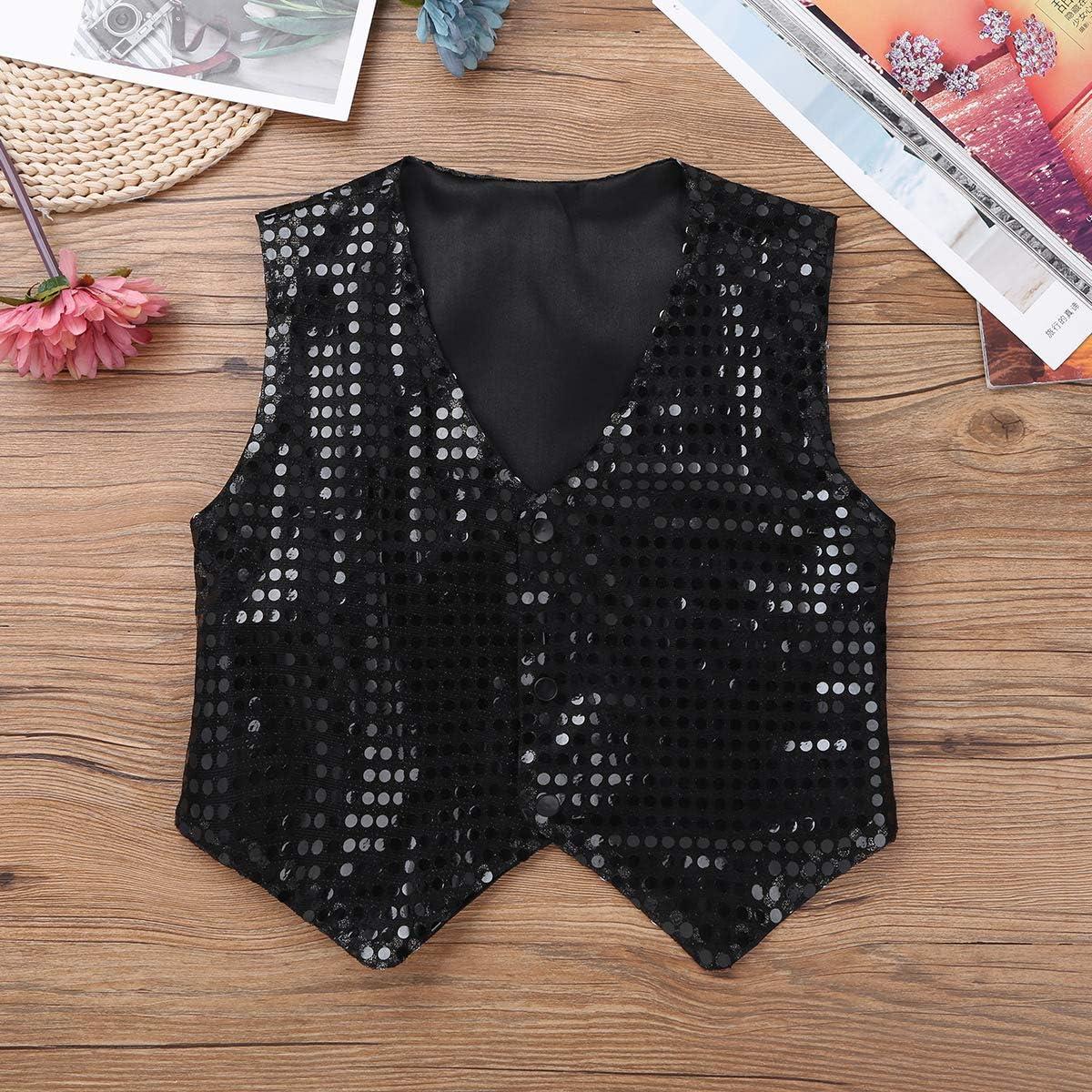CHICTRY Kids Boys Sparkly Sequins Vest Pre-Tied Bowtie Waistcoat Set