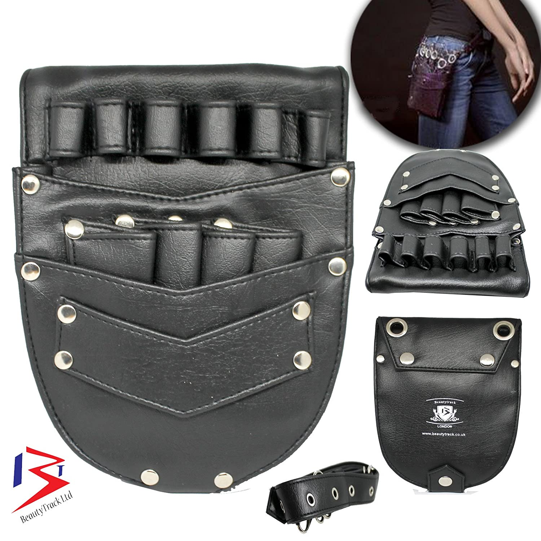 BeautyTrack Hairdressing Leather Holster Pouch Holder Case Barber Scissor Bag-Black with Waist Shoulder Belt - Genuine Leather