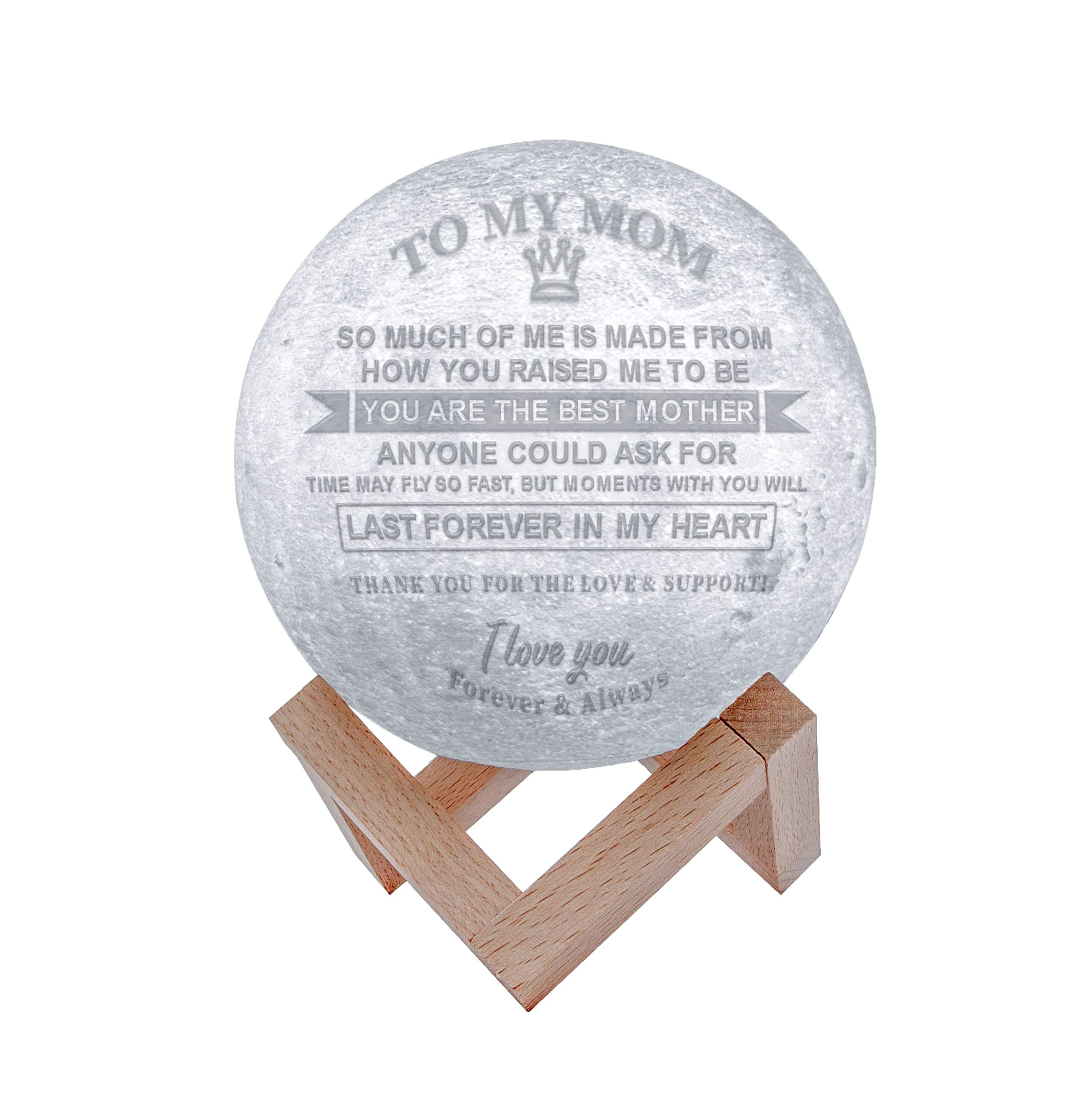Engraved 3D Moon Lamp for Mom,Personalized 5.9 Inch 3D Printing Moon Light Gift for Mother's Day (for Mom) by K KENON