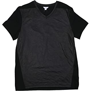 Calvin Klein Leather-Look Slim Fit Solid Color Short Sleeve T-Shirt
