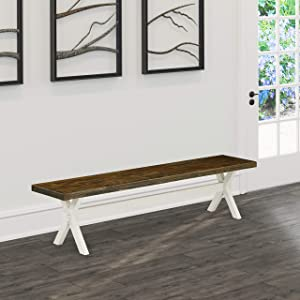 East West Furniture XB077 Gorgeous Distressed Espresso top Surface and a Fantastic 4 Legs in Wire Brushed Linen White Finish Solid Wood Dining Room Bench and Structure