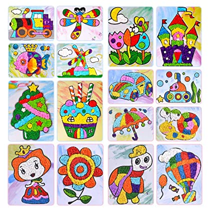 Tissue Paper Sticker Art Kit, Mosaic Sticker Painting for Kids,  Kindergarten Educational DIY Crafts Toys,Craft (16PCS)