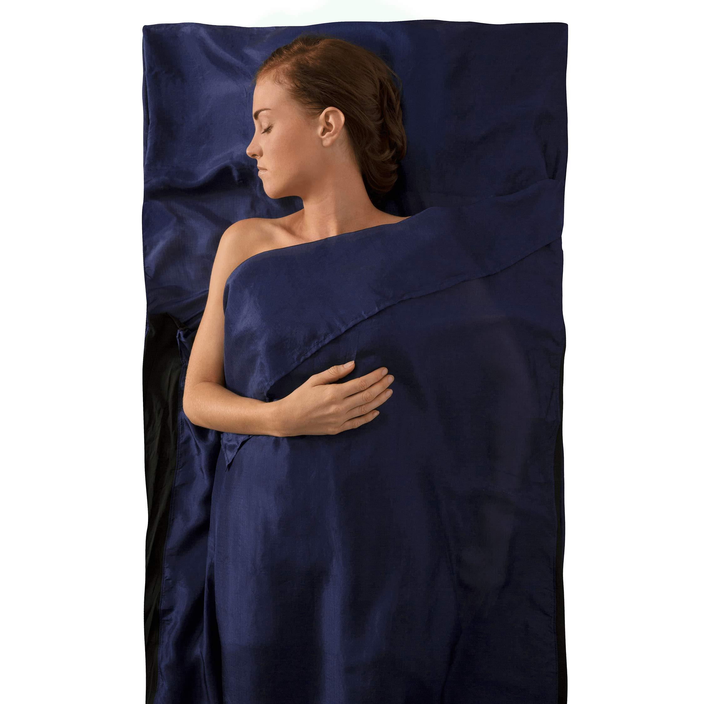 Sea to Summit Premium Silk Travel Liner, Traveller w/Pillow Insert (85 x 36in) (Navy Blue) by Sea to Summit