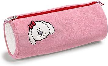NICI Loulou 33559 - Estuche portalápices Redondo de Peluche, diseño Perro, 20 x 7,5 cm, Color Rosa: Amazon.es: Juguetes y juegos
