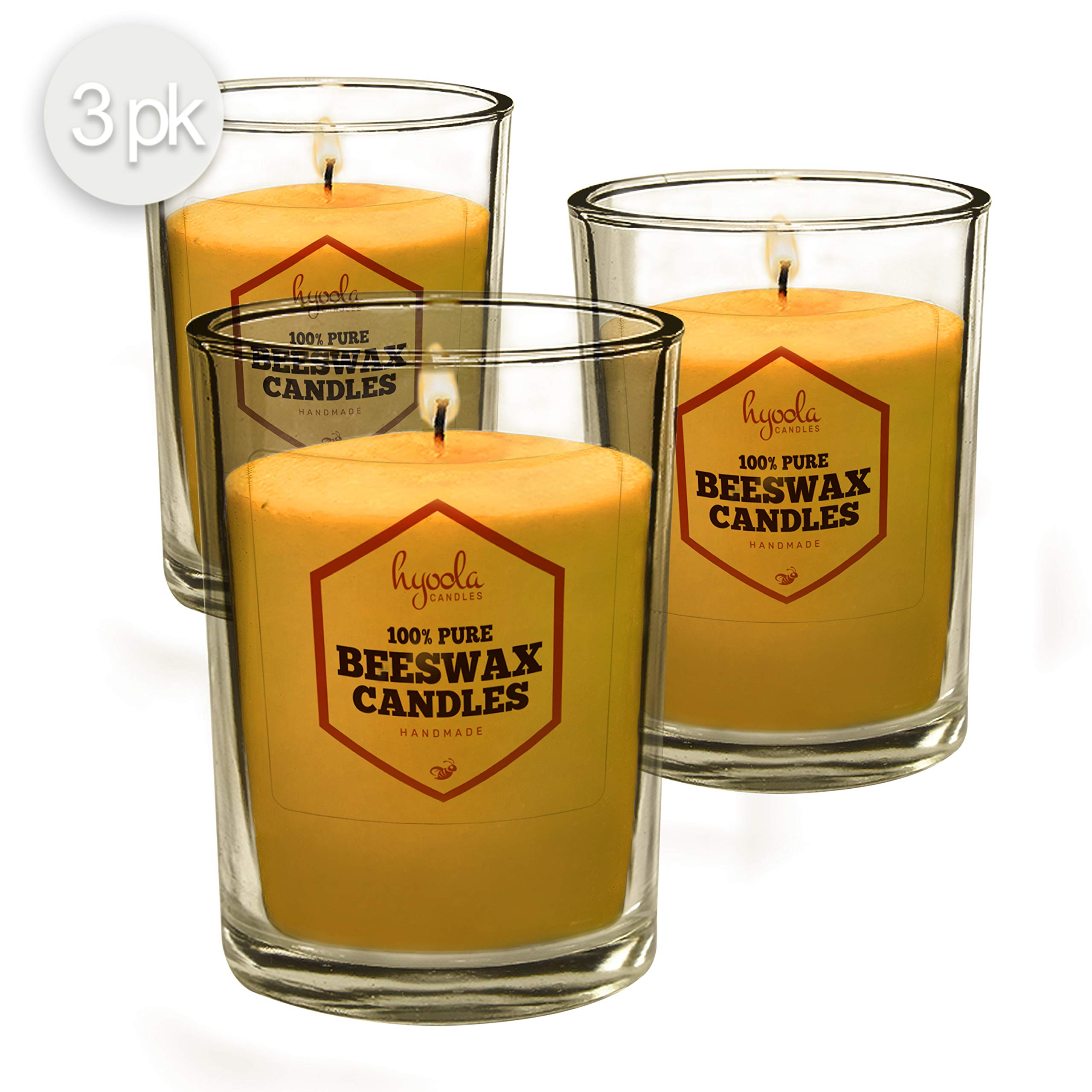 Hyoola Pure Beeswax Votive Candles, 3 Pack Yellow Unscented Decorative Candle for Party Centerpieces, Home Decor and Dinner Parties - Long Lasting Burn Time, Clear Glass Cup,3 oz