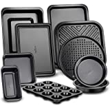 10-Piece Kitchen Oven Baking Pans - Deluxe Carbon Steel Bakeware Set with Stylish Non-stick Gray Coating Inside and Out…