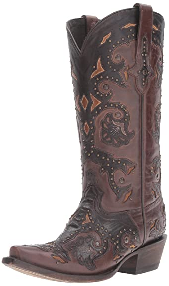 Lucchese Classics Women's Fiona-stud Scarlette Cafe Bn Calf Riding Boot Cafe Brown 9 B US