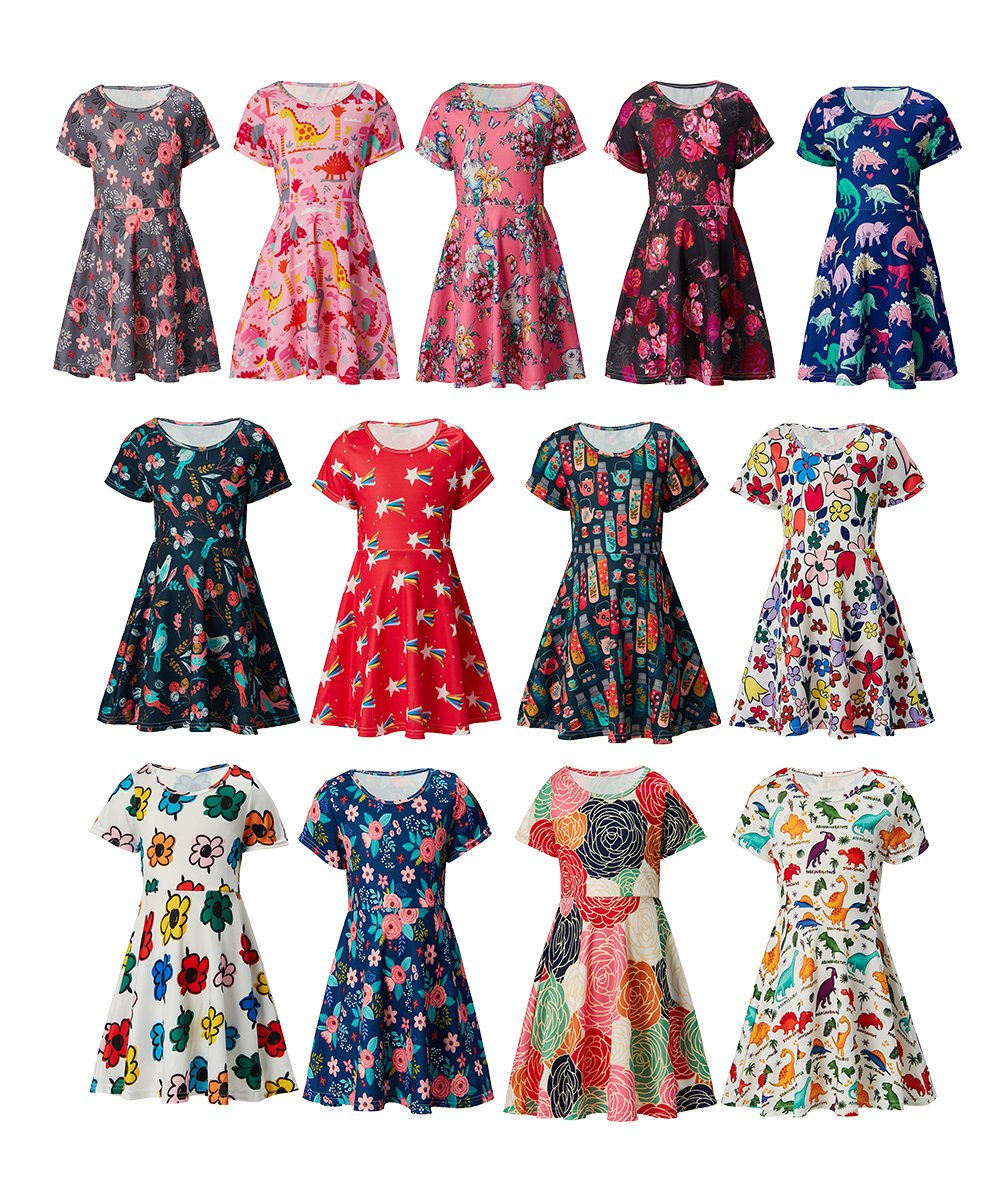 RAISEVERN Girls Summer Short Sleeve Dress Dinosaurs Printing Casual Dress Kids 8-9 Years by RAISEVERN (Image #5)