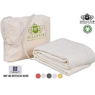 HILLFAIR 100% Certified Organic Cotton Blankets- Twin Size Bed Blankets- All Season Cotton Blanket- Organic Cotton Bed Blankets - Soft Cozy Multipurpose Twin Blankets- Natural Twin Size Blanket