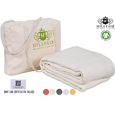 HILLFAIR 100% Certified Organic Cotton Blankets- King Size Bed Blankets- All Season Cotton Blanket- Natural King Size Cotton Blanket- Soft Cozy Multipurpose King Blankets- Organic Cotton Bed Blankets