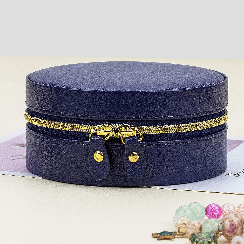 joyero de viaje ADEL DREAM Joyero organizador de joyas azul peque/ño para el hogar y la oficina con cremallera y espejo ideal para ni/ñas y mujeres redondo