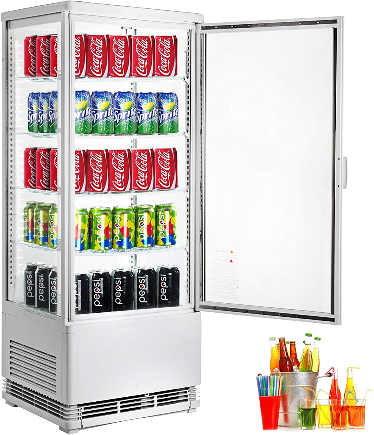 VBENLEM 3.5 cu.ft. Commercial Beverage Refrigerator 98L Glass Door Countertop Display Cooler Drink Show Case with LED Lighting White Freestanding Display Fridge for Supermaket Bar Office Use