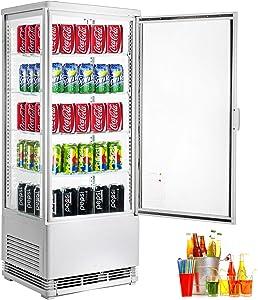 VBENLEM 3.5 cu.ft. Commercial Beverage Refrigerator 98L Glass Door Countertop Display Cooler Drink Show Case with LED Lighting White Freestanding Display Fridge for Supermaket Bar Office Use