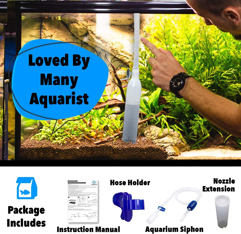 Sifón para pecera – Aspiradora de grava para acuario – Boquilla larga para acuario – Aspirador de acuario con foco de cebado – Limpiador de grava para acuario – Pequeño tanque de