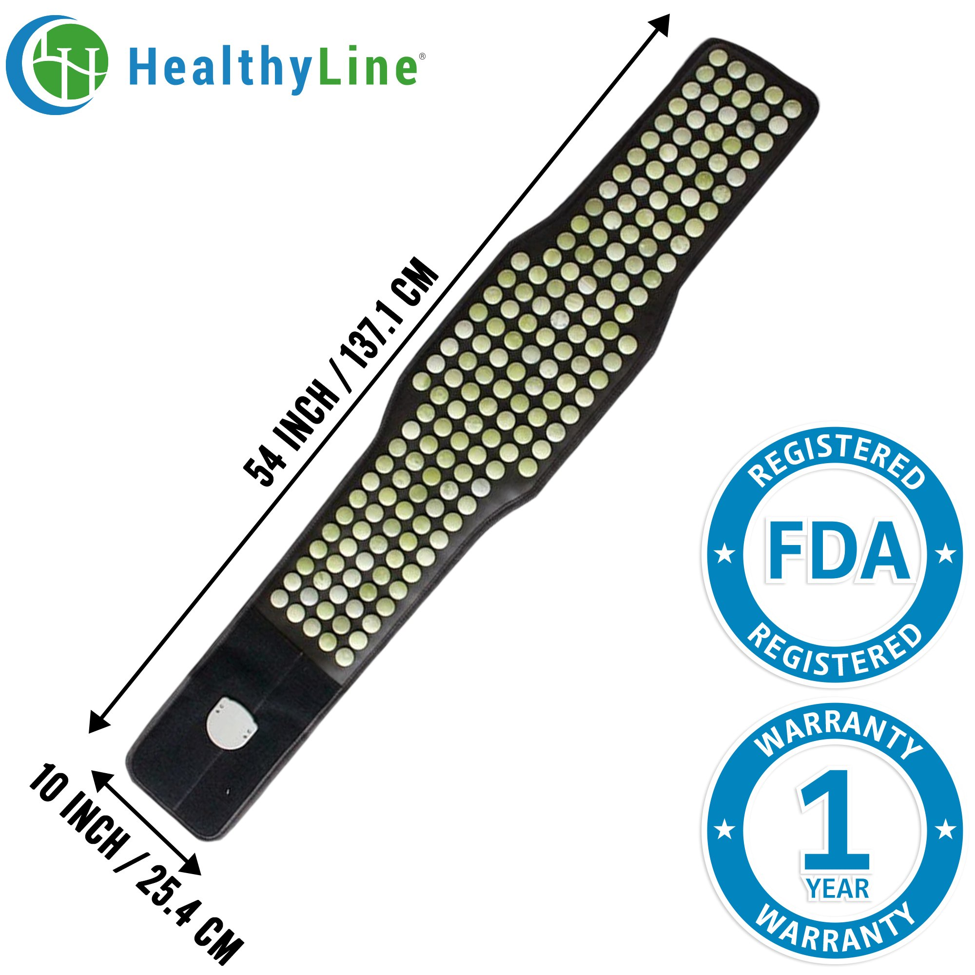 HealthyLine Lower Back Pain Relief Far Infrared Heating Belt (Firm)|Natural Jade stones, Back Brace Belt 54''X 10''|Relieve  Strains, Sprains and Muscle Spasms |US FDA by HealthyLine