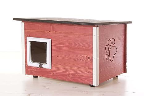 Roja Gato Caseta – Gato con calefacción y gato Tapa, Suelo/paredes wärmegedämmt