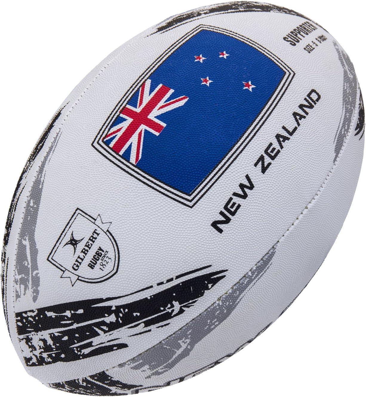 Gilbert Unisexs New Zealand Supporter Ball Size 5 Multi-Colour