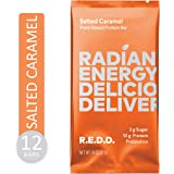 REDD - Salted Caramel - Plant Based Protein Bar (1.8oz - 12-Pack) - Gluten Free, Vegan, Low Sugar, High Fiber, Probiotics, Healthy On-The-Go Snack for Kids & Adults