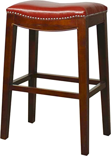 New Pacific Direct Elmo Bonded Leather Bar Stool, Red