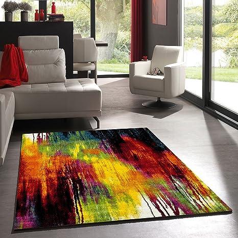 UN AMOUR DE TAPIS - Tapis moderne 191 - Tapis salon belo - rouge, creme,  jaune, vert, noir, orange - 160 x 230 cm